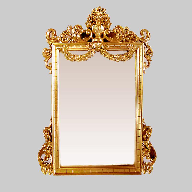 Wooden Gold Mirror