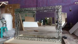 Antique glass mirror