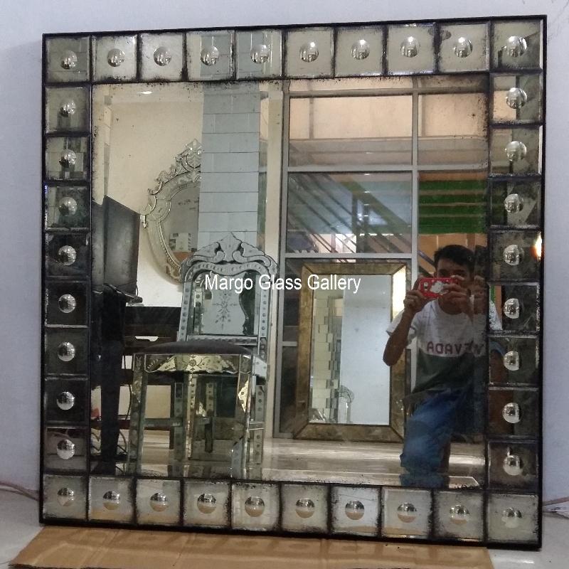 Antique glass mirror