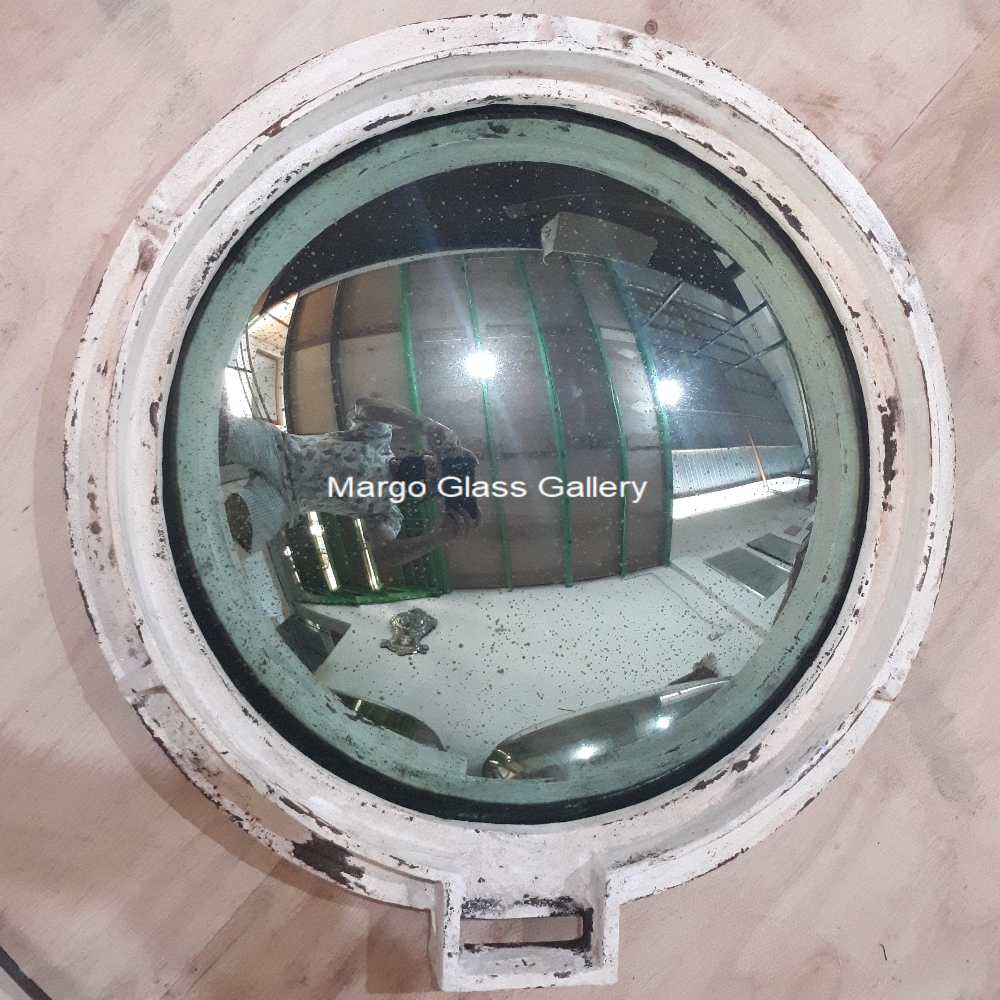 Industrial Metal Frame Round Mirror