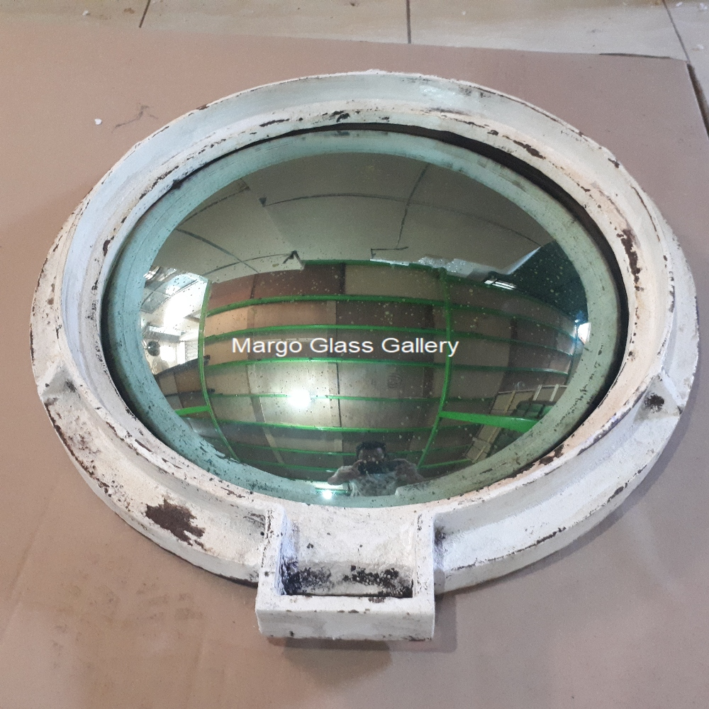 Industrial metal frame convex mirror