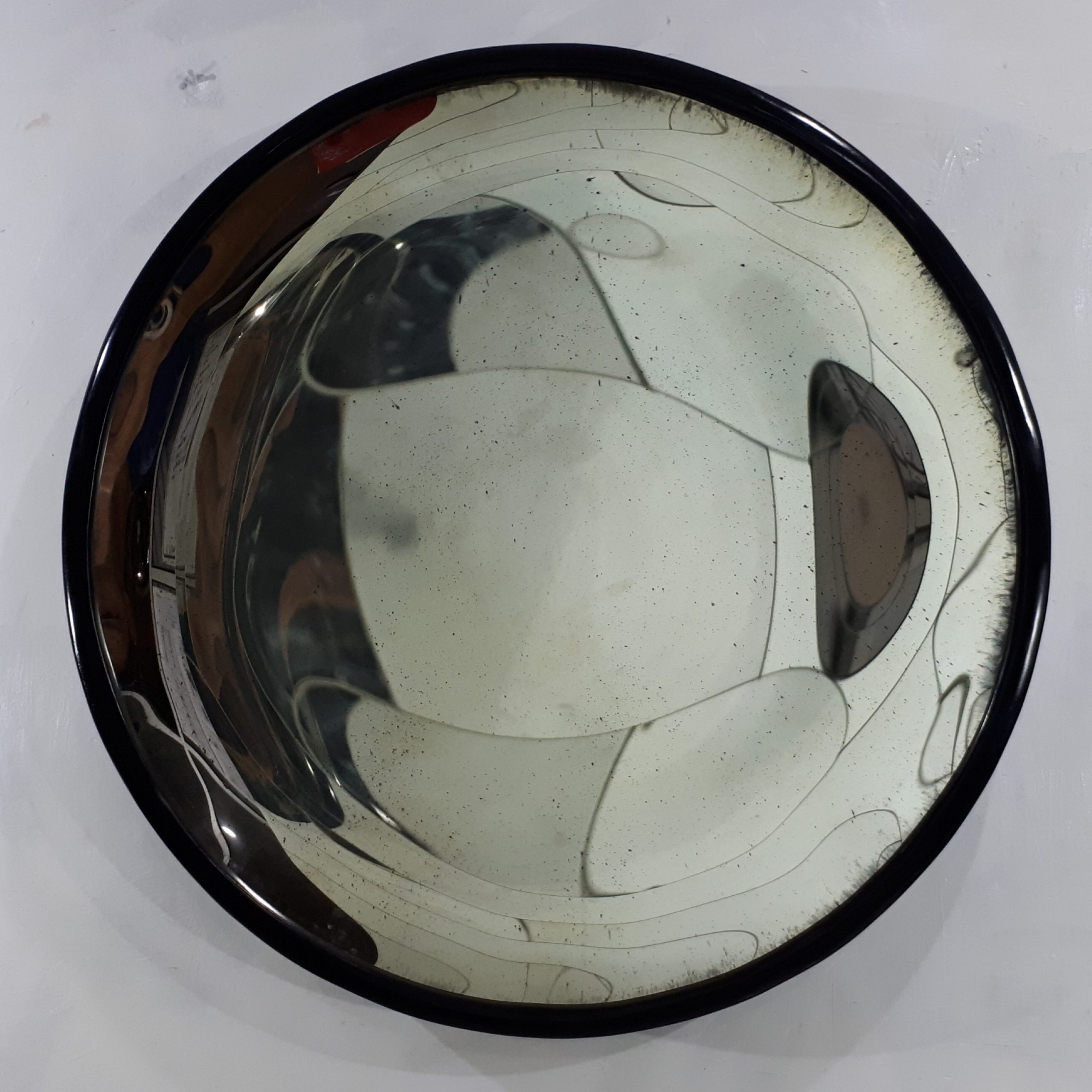 Concave antique Mirror 90cm with black wood frame