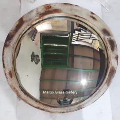 MG 022009 Industrial Metal Frame Round Convex Mirror White